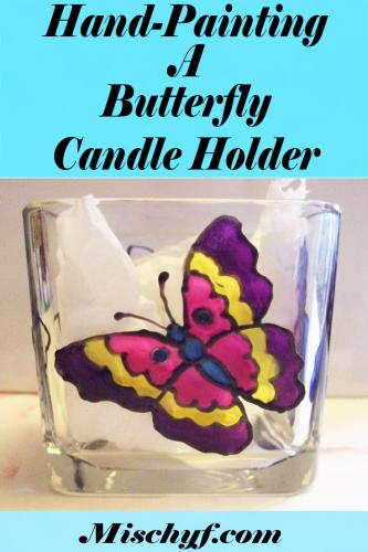 How to hand paint a stain glass butterfly candle holder with Pebeo Paints